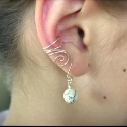 Pair of Silver Plated Ear Cuffs with Genuine White Howlite, non pierced